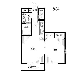 東京都国立市矢川3丁目の賃貸マンションの間取り