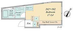 南大塚1丁目新築マンション 4階ワンルームの間取り
