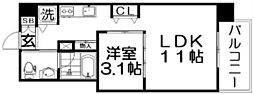 Osaka Metro四つ橋線 肥後橋駅 徒歩3分の賃貸マンション 2階1LDKの間取り