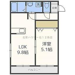 北海道札幌市北区北十五条西3丁目の賃貸マンションの間取り