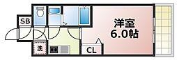 Osaka Metro千日前線 新深江駅 徒歩6分の賃貸マンション 6階1Kの間取り