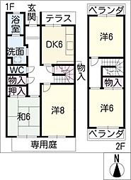 八事本町住宅1号棟107号[2階]の間取り