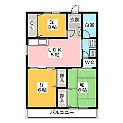 陶山ハイツ[3階]の間取り