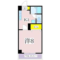 鹿児島県鹿児島市永吉2丁目の賃貸マンション 2階1Kの間取り