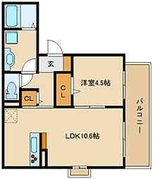 (仮称)D-room法善寺 B棟[2階]の間取り