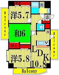 ライオンズマンション梅島第5[12階]の間取り
