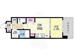 京都市営烏丸線 九条駅 徒歩7分の賃貸マンション 5階1DKの間取り