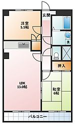 コーポ三瀧[3B号室]の間取り