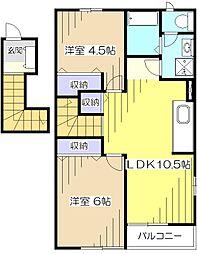 東京都東村山市廻田町2丁目の賃貸アパートの間取り