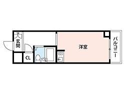 阪急千里線 南千里駅 徒歩9分の賃貸マンション 4階ワンルームの間取り