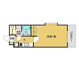 JR鹿児島本線 箱崎駅 徒歩1分の賃貸マンション 8階1Kの間取り