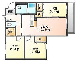 岡山県岡山市北区高柳西町の賃貸アパートの間取り