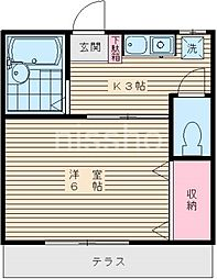 736−アメニティー若宮[102号室]の間取り