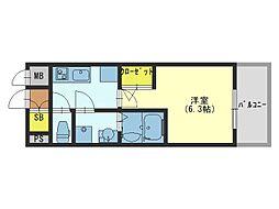 JR大阪環状線 大阪城公園駅 徒歩17分の賃貸マンション 4階1Kの間取り