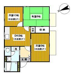 神奈川県平塚市諏訪町の賃貸アパートの間取り