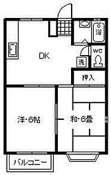 サンハイムA・B[A202号室]の間取り