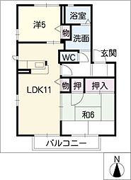 フォレストタウンE棟[2階]の間取り