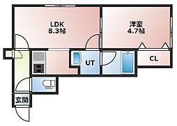 KAZU本通 2階1LDKの間取り