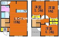 [一戸建] 岡山県岡山市北区高柳西町 の賃貸【/】の間取り