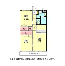 愛知県一宮市三条字郷南西の賃貸アパートの間取り