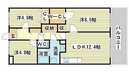 キャッスルコート東辻井[902号室]の間取り