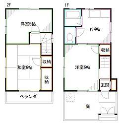 JR中央本線 中野駅 徒歩15分の賃貸一戸建て 3Kの間取り
