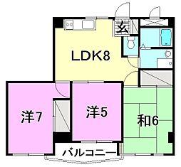 ビージョイマンション5号館[407 号室号室]の間取り