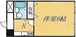 東京メトロ副都心線 雑司が谷駅 徒歩5分の賃貸マンション 2階1Kの間取り