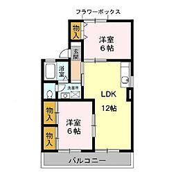 千葉県千葉市緑区おゆみ野中央6の賃貸アパートの間取り