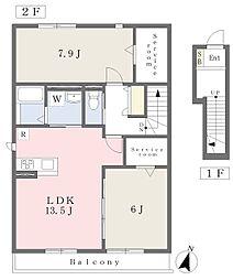 近鉄奈良線 河内花園駅 徒歩8分の賃貸アパート 2階2LDKの間取り