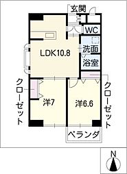 葵21ビル[8階]の間取り