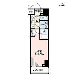 プレール・ドゥーク文京湯島 7階1Kの間取り