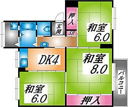 兵庫県神戸市灘区鶴甲4丁目の賃貸マンションの間取り