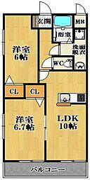 ガーデンコート丹南[2階]の間取り
