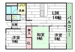 三杉プチシャトー[1階]の間取り