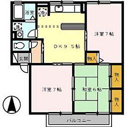 広島県広島市安佐南区中筋2丁目の賃貸アパートの間取り
