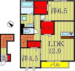 千葉県流山市三輪野山3丁目の賃貸アパートの間取り