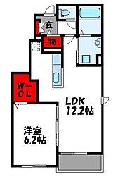 西鉄貝塚線 三苫駅 徒歩11分の賃貸アパート 1階1LDKの間取り