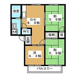 ファミール小松原[2階]の間取り