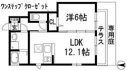 兵庫県宝塚市桜ガ丘の賃貸アパートの間取り