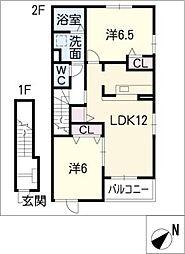 アンソレイエ II[2階]の間取り