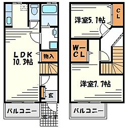 [テラスハウス] 兵庫県尼崎市南武庫之荘9丁目 の賃貸【/】の間取り