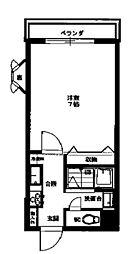 丹木田口ビル 2階ワンルームの間取り
