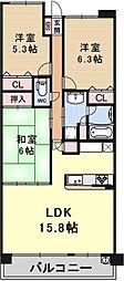 ロータリーマンション大津京パークワイツ分譲[513号室号室]の間取り