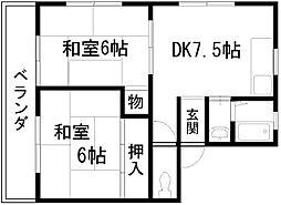 ヒガシハウス別所[205号室]の間取り