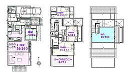 建物参考プラン:間取り/4LDKルーフバルコニー、延床面積/131.85?