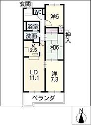 愛知県豊田市平芝町6丁目の賃貸マンションの間取り