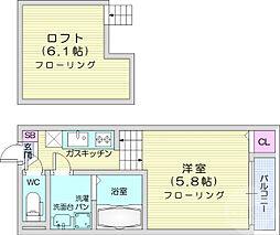 仙台市営南北線 旭ヶ丘駅 徒歩9分の賃貸アパート 1階1Kの間取り