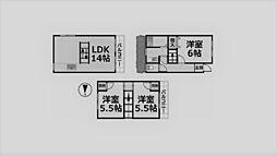クレスト甲東園B棟[B-2号室]の間取り