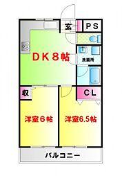 東京都中野区中野6丁目の賃貸マンションの間取り